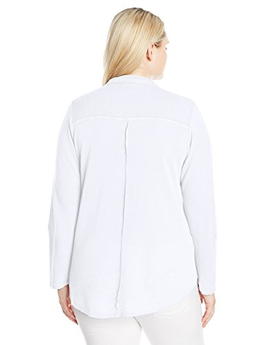 Lucky Brand Women's Plus Size Woven Gauze Mixed Top, Bright White, 2X