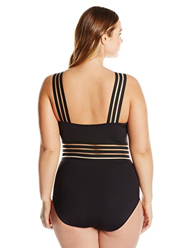 Kenneth Cole REACTION Women's Plus Size Stompin' in My Stilettos High Neck One Piece Swimsuit with Removable Cups, Black, 2X