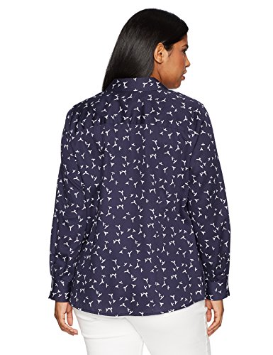Foxcroft Women's Plus Size Brooke Bird Print Wrinkle Free Shirt, Navy, 14W