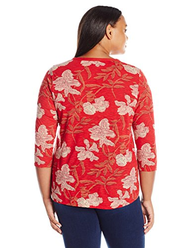 Lucky Brand Women's Plus Size Red Floral Top, Red/Multi, 2X