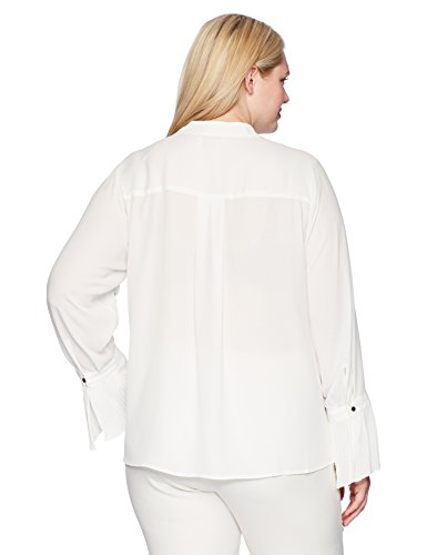 Calvin Klein Women's Plus Size Button Front Top With Pleated Cuffs, Cream, 3X