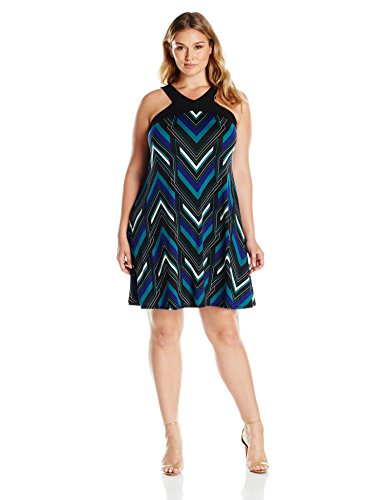NY Collection Women's Plus Size Printed Sleeveless Cut Out Neck Dress, Teal deviation, 1X