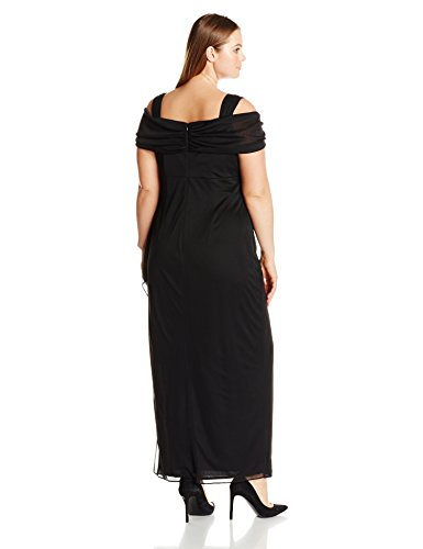 Alex Evenings Women's Plus-Size Long Cold Shoulder Dress with Side Ruched Skirt, Black, 18W