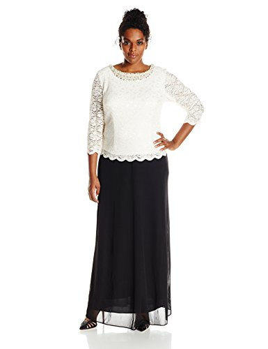 Alex Evenings Women's Plus-Size Mock A-Line Dress, Black/Ivory, 18W