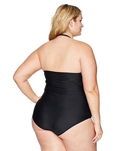 Coastal Blue Women's Plus Size Swimwear Convertible Halter Ruched One Piece Swimsuit, Ebony, 1X (16W-18W)