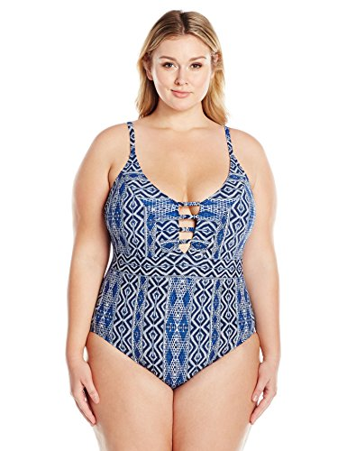 La Blanca Women's Plus Size Designer Jeans Over Shoulder One Piece Swimsuit, Indigo, 18W