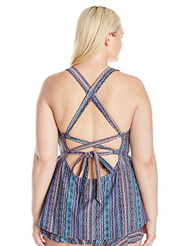 Jessica Simpson Women's Plus Size Dusty Road Denim-Inspired Cross Back Tankini, Peri Multi, 1X