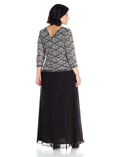 Alex Evenings Women's Plus Size Long Evening Gown With Sequin Lace Bodice Dress, Black/White, 18W
