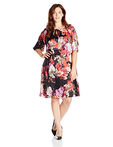 Adrianna Papell Women's Plus-Size Drawstring Neck With Blouson Floral Dress, Black/Multi, 16W