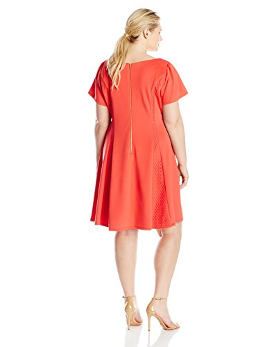 Gabby Skye Women's Plus-Size Fit and Flare Dress With Cap Sleeves, Tomato, 18W