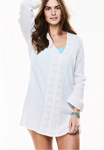 Woman Within Women's Plus Size Crochet-Trimmed Gauze Swim Cover-Up White,22/24