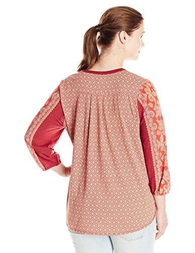 Lucky Brand Women's Plus-Size Scarf Print Henley, Red/Multi, 2X