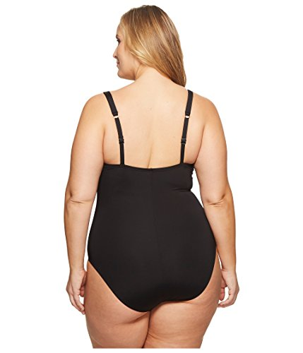 Kenneth Cole REACTION Women's Plus Size Ready To Ruffle Solid Smocked Halter One Piece Swimsuit, Black, 3X
