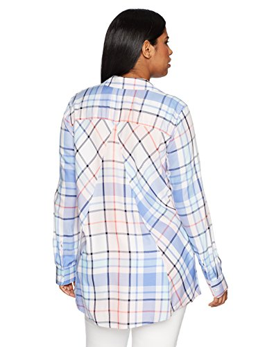 Foxcroft Women's Plus Size Zena Herringbone Plaid Tunic, Multi Plaid, 14W