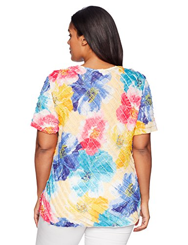 Alfred Dunner Women's Plus Size Floral Tiered Blouse, Multi, 1X