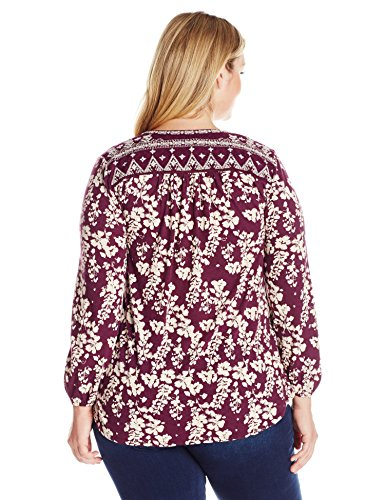 Lucky Brand Women's Plus Size Mixed Peasant Top, Winter Bloom, 2X