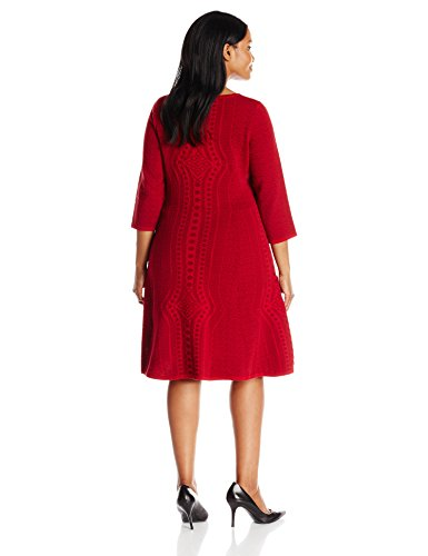 Gabby Skye Women's Plus-Size 3/4 Sleeve Fit and Flare Sweater Dress, Red, 1X