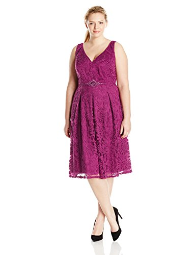 Adrianna Papell Women's Plus-Size Embellished Waist Fit N Flare Dress, Plum, 14W