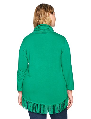 Ruby Rd. Women's Plus Size Silky French Terry Fringe Pull-Over with Paisley Beading, Kelly Green, 1X