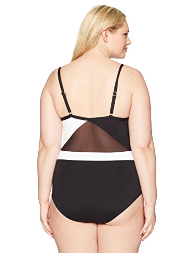 Anne Cole Women's Plus Size Shoulder Mesh Sexy One Piece Swimsuit, Black/White, 24W