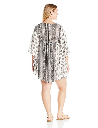 Angie Women's Plus Size Kaftan Tassel Dress, Ivory, 2X