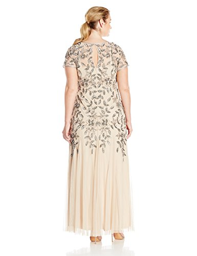 Adrianna Papell Women's Plus-Size Floral Beaded Godet Gown, Taupe/Pink, 16W