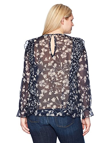 Lucky Brand Women's Plus Size Ruffle Floral Top, Blue/Multi, 3X