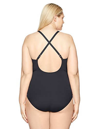 La Blanca Women's Plus Size Island Goddess Twist Front One Piece Swimsuit, Black, 16W