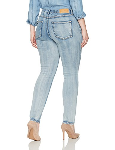 Junarose Women's Plus Size Five Medium Blue Slim Jeans, Medium Blue Denim, 20W