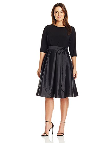 Adrianna Papell Women's Plus-Size Long Sleeve Taffeta Two-Fer Dress, Black, 14W
