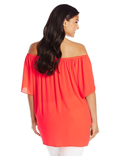Vince Camuto Women's Plus-Size Short Sleeve Off The Shoulder High Low Hem Blouse, Fiery Coral, 3X
