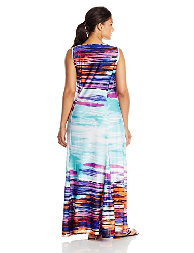 NY Collection Women's Plus-Size Sleeveless Printed Maxi Dress With V-Neck, Orchid Velocity, 2X