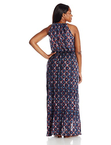 Lucky Brand Women's Plus Size Printed Maxi Dress, Blue/Multi, 1X