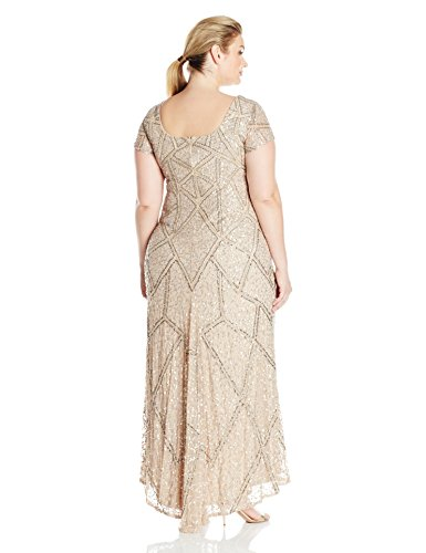 Adrianna Papell Women's Plus Size Short Sleeve Fully Beaded Gown, Champagne, 20W