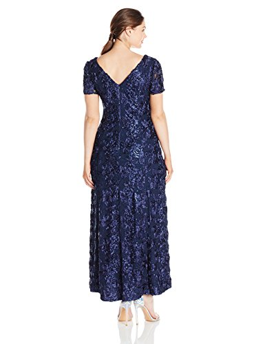 Alex Evenings Women's Plus Size Long a-Line Rosette Dress With Short Sleeves, Navy, 14W
