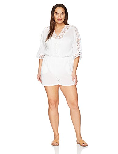 La Blanca Women's Plus Size Island Fare V Neck Romper Cover up, White, 1X