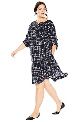 Women's Plus Size Trapeze Shirt Dress Black Painterly Grid,24 W