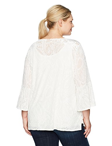 Ruby Rd. Women's Plus Size Scoop-Neck Paisley Burnout Velvet Tunic, Winter White, 1X
