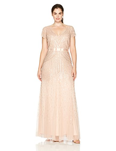 Adrianna Papell Women's Plus Size Long Cap-Sleeve Gown, Blush, 20W