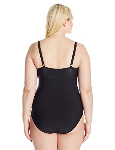 Kenneth Cole REACTION Women's Plus Size Dream Weaver One Piece Swimsuit With Tummy Control and Crystal Stones, Black, 1X