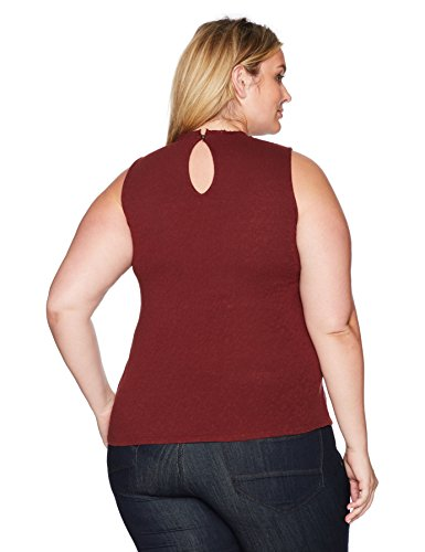 Lucky Brand Women's Plus Size Lace Mock Neck Top, Marsala, 1X