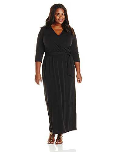 NY Collection Women's Plus-Size 3/4 Sleeve Wrap Front Maxi Dress with Tie, Black, 2X