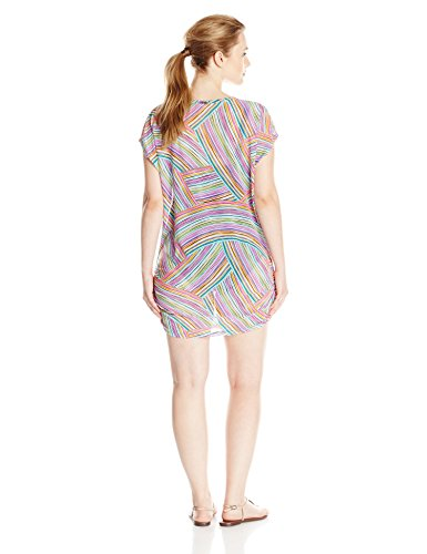 Anne Cole Women's Plus-Size Rainbow Arches Mesh V-Neck Side-Shirred Cover Up, Multi, 18/20