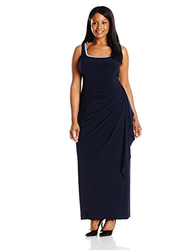 Alex Evenings Women's Plus-Size Side Ruched Bolero Jacket With Gown, Deep Navy, 24W