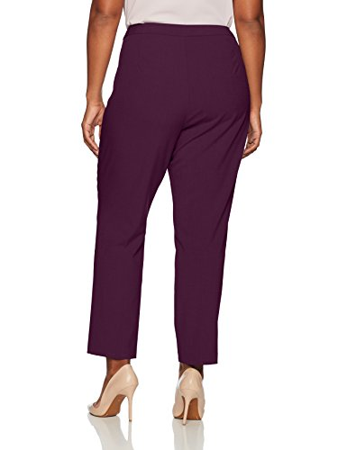 Calvin Klein Women's Plus Size Straight Pant With Buckle and Zip, Aubergine, 14W