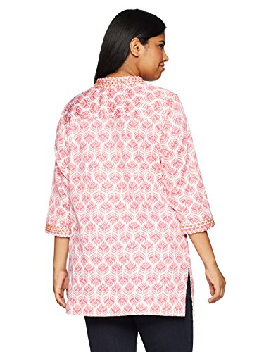 Foxcroft Women's Plus Size Angelica Block Print With Embroidery Tunic, White/Multi, 22W