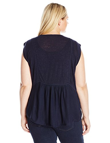 Lucky Brand Women's Plus Size Mixed Fabric Shell, American Navy, 1X