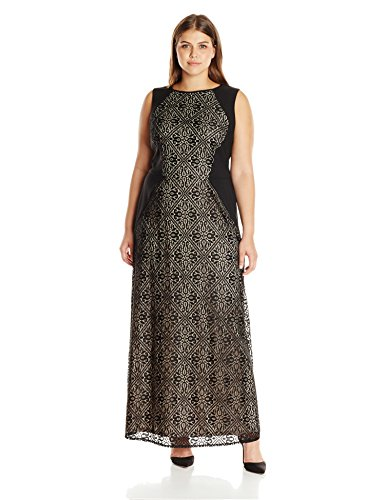 London Times Women's Plus Size Medeival Tile Lace Inset Gown, Black/Nude, 20W