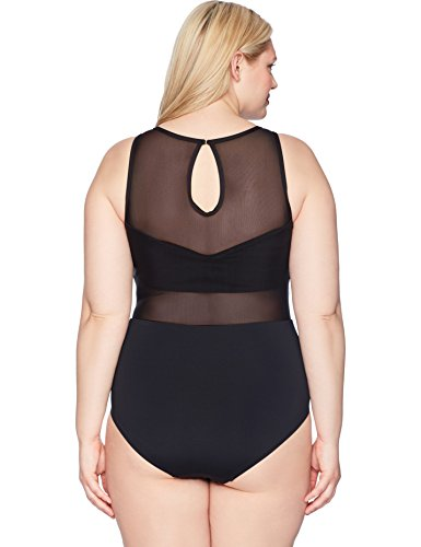 Anne Cole Women's Plus Size High Neck Mesh Floral Sexy One Piece Swimsuit, Black, 16W