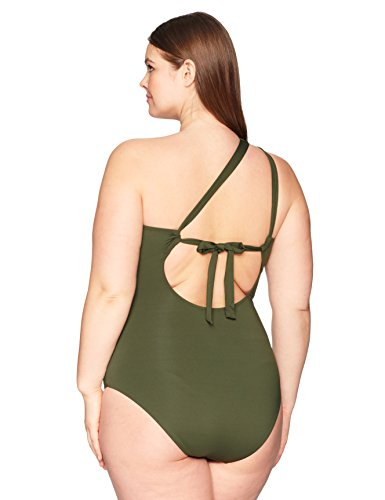 BECCA ETC Women's Plus Size Making The Cut Asymmetrical One Piece Swimsuit, Bay, 1X